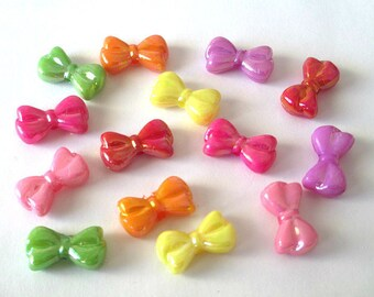 14 acrylic Butterfly beads mixed color 18 x 10 x 6 mm