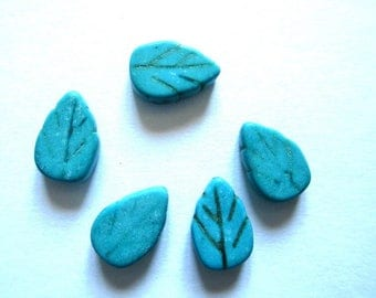 5 13x9mm turquoise howlite leaf beads