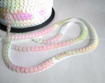 3 m tape 6mm iridescent white sequin trim