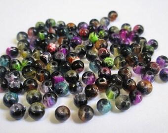 100 translucent black drawbench beads 4mm color mix