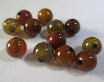 10 beads Crackle agate vein dragon color brown/orange/green 6mm (12 G)