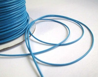 5 m thread cord blue polyester waxed 1 mm