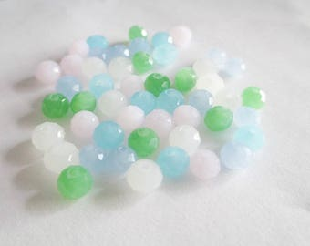 50 beads rondelle faceted 6x4mm imitation jade glass color mix
