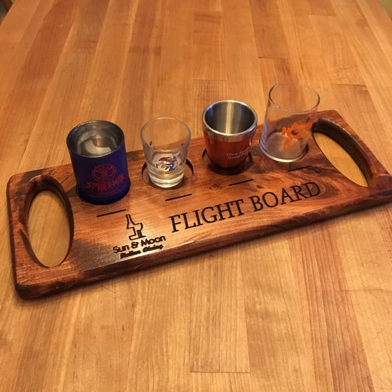 Personalized Engraved Beverage Flight Board with Random Shot Glasses and Label Disk