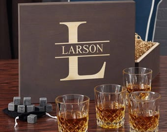 Custom Engraved Whiskey Glass Set & Stones - Fantastic Whiskey Lovers Gift Set with Personalized Wood Box - Cut Crystal Glasses