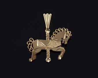 14k Carousel Horse Filigree Charm/Pendant Gold