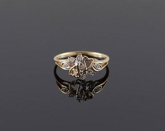 14k Genuine Diamond Fancy Double Heart Ring Gold