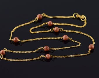 14k 4mm Gold Stone Beaded 1.2mm Curb Link Chain Necklace Gold 15.25""