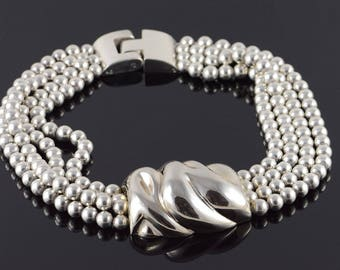 Stunning Van Musulin Heavy Bead Necklace Sterling Silver