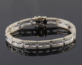 "14k 1.75 CTW Diamond Classic X Tennis Bracelet Gold 7.25"""