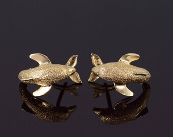 14k Ruby Accented Textured Dolphin 3D French Back Earrings Gold