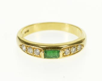18k 0.22 Ctw Emerald Diamond Accent Stone Band Ring Gold