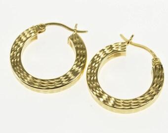 14k Squared Diamond Cut Patterned Hollow Hoop Earrings Gold