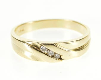 14k Diamond Diagonal Channel Inset Grooved Men's Ring Gold