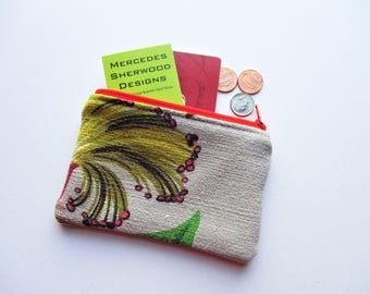Yellow Flower Spray Green Brown Leaves Fronds on Gray Ground Vintage Barkcloth Fabric Coin Purse Business Loyalty Cards Zipper Pouch Bag