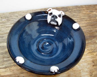 English Bulldog Pottery Candy Dish, English Bulldog Art, Blue Pottery Bowl, Dog Lover Home Decor, English Bulldog Gifts