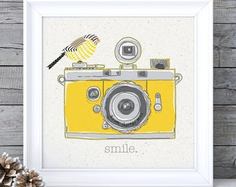 Mustard Yellow Decor, Mustard Yellow Art, Mustard Wall Art, Camera Print, Camera Wall Art, Ochre Wall Art, Ochre Picture, Retro Wall Art