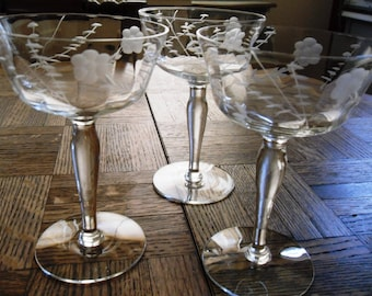 Vintage Mid-Century Sears Drury Bulbous Stem Pattern Cut Frosted Flowers and Stems Sherbet Glass