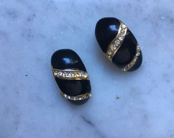 Vintage years ' 80 earrings black gold Clips