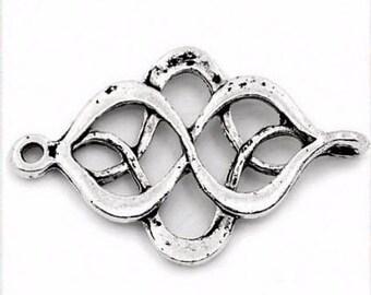 20 antique silver wavy connectors