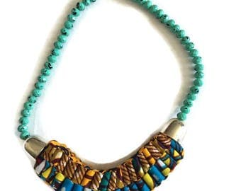 African Print Beaded Necklace, African Women Jewellery. Ankara Accordion Necklace, Women African Clothing, Ankara Dress Necklace