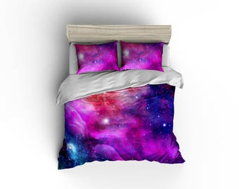 Galaxy pink, blue, purple duvet cover