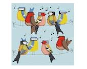 Birds on a Line - Durene J Cross Stitch Pattern - DJXS2223