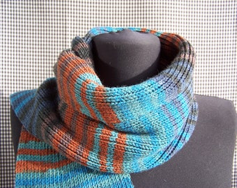 warm long knitted ribbed chunky striped gradient emerald, blue, green, cinnamon and gray street fashion scarf cool gift for cool season