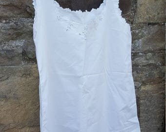 Vintage French cotton Nightie / Embroidered  Cotton / French Nightgown / Sleeveless French Vintage Cotton Nightgown Tunic / French Vintage