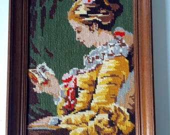 """Vintage French CANVAS Tapestry NEEDLEPOINT handmade based on """" La Liseuse de Fragonard"""" with a wooden frame seventies"""