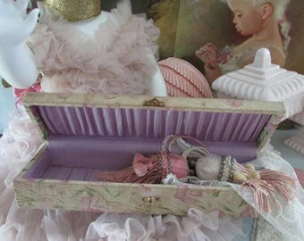One of my most favorite fabric covered boxes...Vintage box with muted pink, green, and old white. Victorian Glove Boxes
