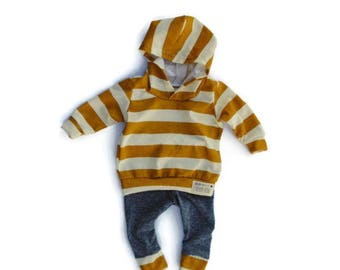 Mustard Stripes Baby Boy Outfit - Hoodie and Leggings Set