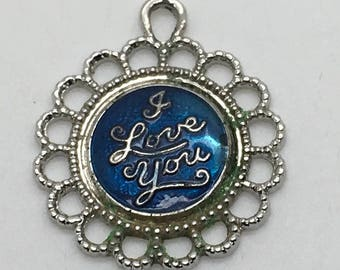 I Love You Blue Enamel Sterling Silver Charm Lover Valentine 's Day Gift Birthday Anniversary Mother's Day Round Disc Charm