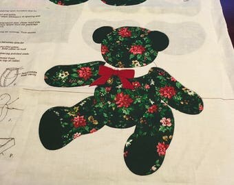 VIP Print Cranston  Cut and Sew Christmas Teddy Bear Holly Cream Or Green Colored Memory Bear 19 Inch Standing 12 1/2 Inch Your Choice
