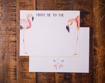Flamingos Flat Note Card Set