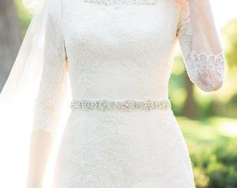 Bridal belts and sashes - bridal belt - bridal sash- wedding belt - wedding sash - wedding dress belt - rhinestone belt - thin bridal belt.