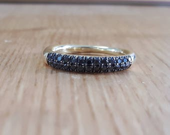 14K Gold ring, Diamond Eternity Wedding Ring, Stackable ring, Pave Diamond, Wedding Ring, Custom Gold Jewelry Gift for Her, black diamond