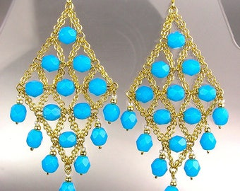 GORGEOUS Teal Blue Gold Chandelier Dangle Earrings, Bohemian Earrings, Cascading Dangle Earrings, FREE SHIPPING!