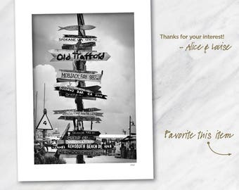13x19 Black and white fine art photography print. Key West Signage, Key West, Florida