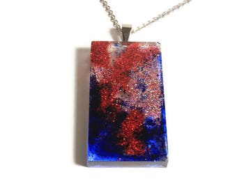 Red and blue resin Pendant Necklace