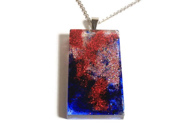 Red and royal blue glitter resin pendant on a stainless steel chain. Rectangle shape pendant necklace, Glitter pendant