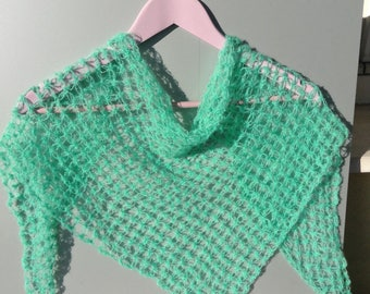 Neckerchief, triangle stitch witch, light and fluffy mohair, mint green, Keffiyeh,