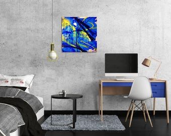 Canvas painting modern abstract canvas art blue contemporary street art spray