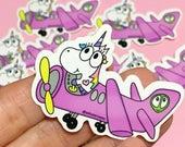 Baby Unicorn airplane vinyl sticker, planner stickers