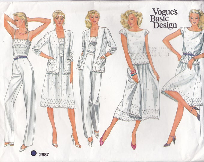FREE US SHIP Vogue 2687 Sewing Pattern Basic Design Large Envelope Summer Separates Size 10 Bust 32.5 Factory Folded Top Pants Skirt