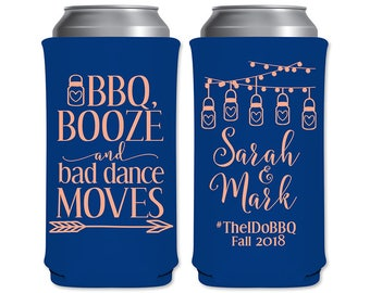8.3oz Slim Can Coolers Beverage Insulators Wedding Favors | BBQ Booze And Bad Dance Moves (1A) | Energy Drinks/Mich Ultra | READ DESCRIPTION