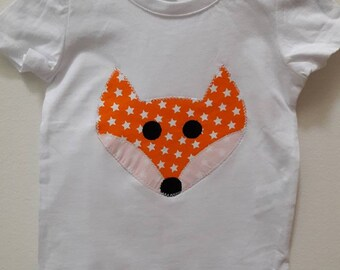White tee shirt pattern Fox size 12 months
