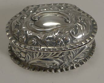 Antique English Sterling Silver Pill Box - 1893