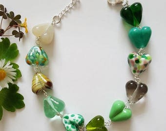 Green Hearts Bracelet - Sterling Silver Bracelet - Gifts for Her - Lampwork Glass - Green Bracelet - Bracelet - UK Made - Jewelry - Hearts