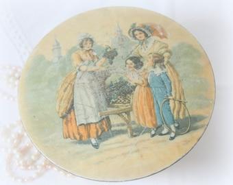 Vintage Round Tin Box with Victorian Age Women and Children Decor
